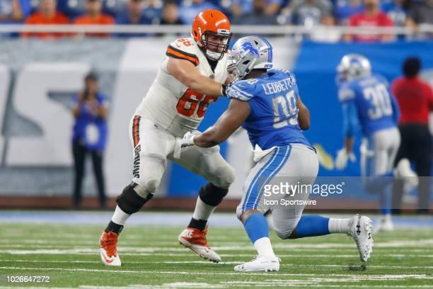 Cleveland Browns guard Spencer Drango blocks Detroit Lions defensive tackle Jeremiah Ledbetter during preseason game action between the Cleveland...