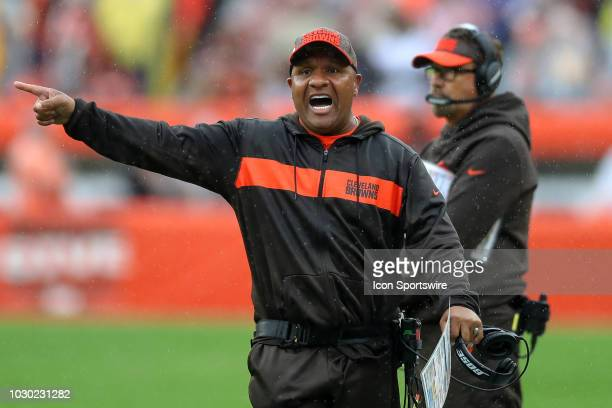 Cleveland Browns head coach Hue Jackson yells to an official during the second quarter of the National Football League game between the Pittsburgh...