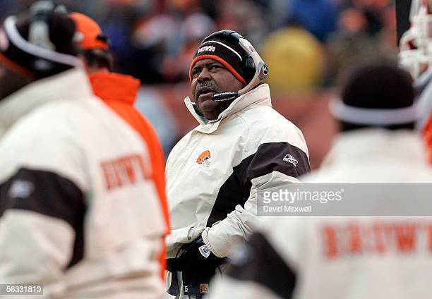 Cleveland Browns head coach Romeo Crennel glances at the scoreboard during the fourth quarter against the Jacksonville Jaguars on December 4 2005 at...
