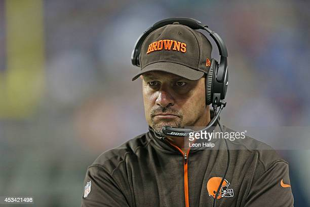 Cleveland Browns head football coach Mike Pettine watches the action during the second quarter of the preseason game against the Detroit Lions at...