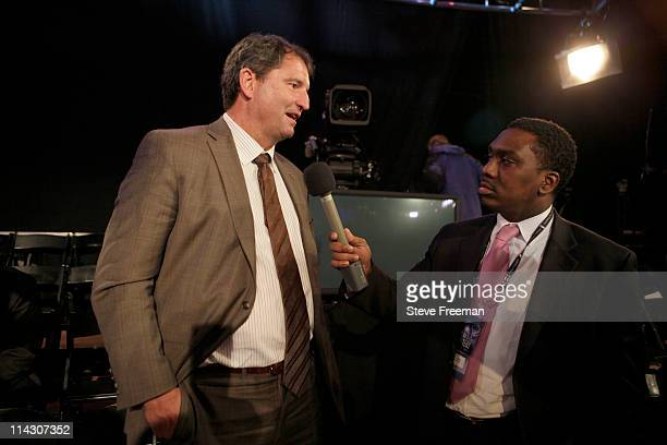 Cleveland Browns legend Bernie Kosar speaks to the media after the Cavaliers win the number one overall pick of the 2011 NBA Draft Lottery at the...