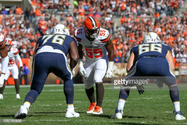 Cleveland Browns linebacker Genard Avery lines up opposite Los Angeles Chargers offensive tackle Russell Okung and Los Angeles Chargers offensive...