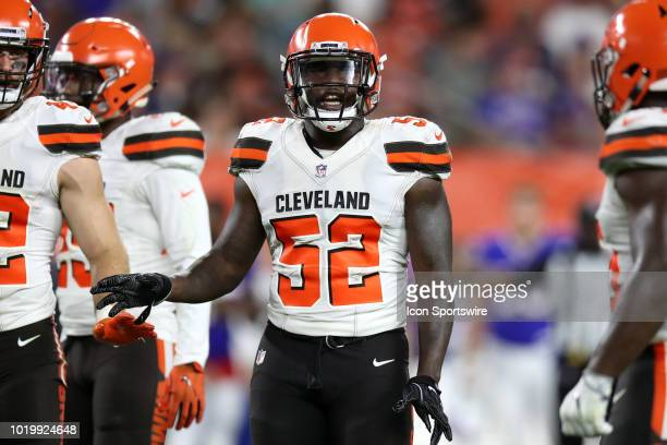 Cleveland Browns linebacker James Burgess Jr on the field during the third quarter of the National Football League preseason game between the Buffalo...