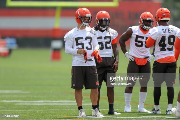 Cleveland Browns linebacker Joe Schobert and Cleveland Browns linebacker James Burgess Jr participate in drills during the Cleveland Browns Minicamp...