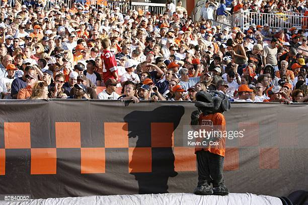 Cleveland Browns mascot interacts with fans during the game against the Dallas Cowboys at Cleveland Browns Stadium on September 7 2008 in Cleveland...