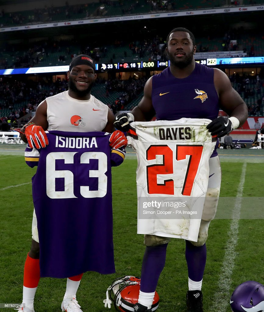 best sneakers 9ad26 61994 Cleveland Browns' Matthew Dayes and Minnesota Vikings' Danny ...