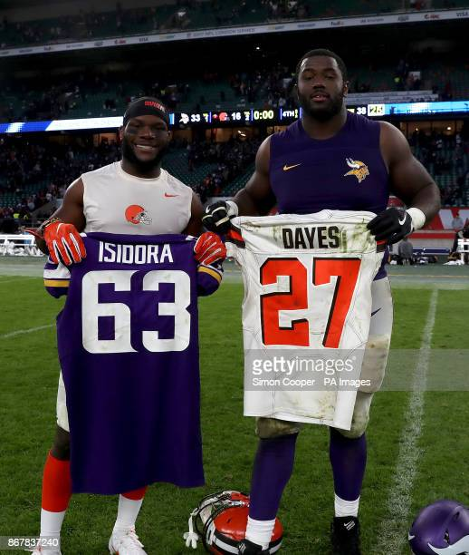 Cleveland Browns' Matthew Dayes and Minnesota Vikings' Danny Isidora swap jerseys after the International Series NFL match at Twickenham London