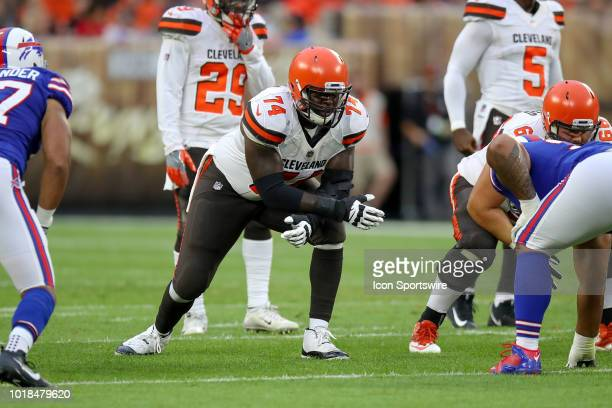 Cleveland Browns offensive lineman Chris Hubbard lines up during the first quarter of the National Football League preseason game between the Buffalo...