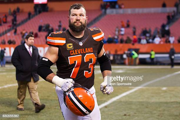 Cleveland Browns Offensive Tackle Joe Thomas leaves the field following the National Football League game between the San Diego Chargers and...