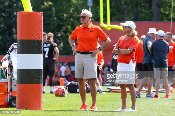 Cleveland Browns owners Jimmy and Dee Haslam watch drills during the Cleveland Browns Training Camp on July 25 at the at the Cleveland Browns...