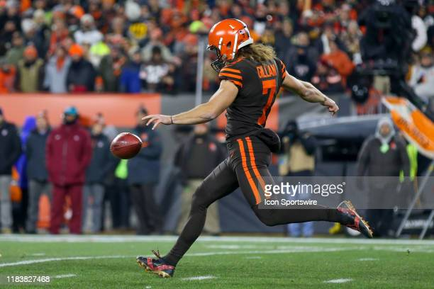 Cleveland Browns punter Jamie Gillan punts during the first quarter of the National Football League game between the Pittsburgh Steelers and...