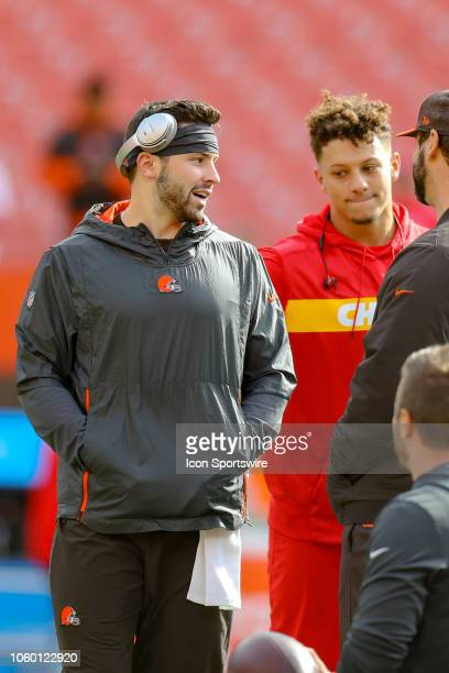Cleveland Browns quarterback Baker Mayfield and Kansas City Chiefs quarterback Patrick Mahomes meet on the field prior to the National Football...