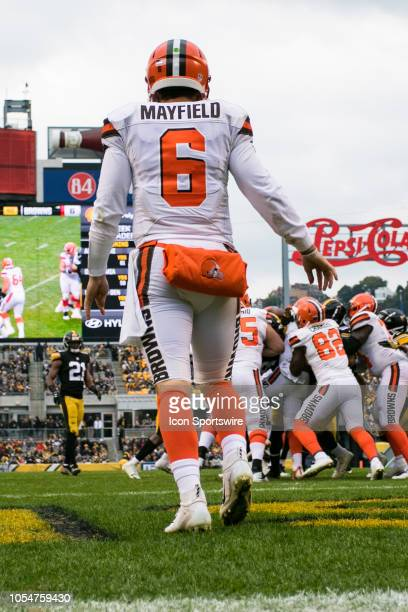 Cleveland Browns quarterback Baker Mayfield looks on during the NFL football game between the Cleveland Browns and the Pittsburgh Steelers on October...