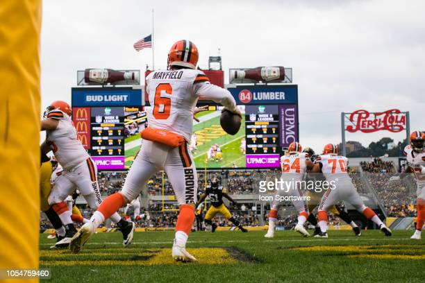 Cleveland Browns quarterback Baker Mayfield looks to pass from his own end zone during the NFL football game between the Cleveland Browns and the...