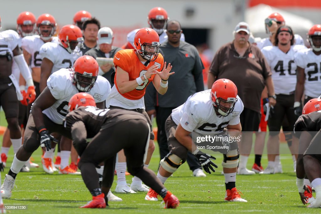 Cleveland Browns quarterback Baker Mayfield (6) prepares to take a snap during drills at the Cleveland Browns Training Camp on July 28, 2018, at the at the Cleveland Browns Training Facility in Berea, Ohio.