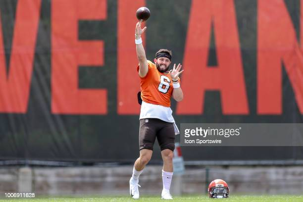 Cleveland Browns quarterback Baker Mayfield throws a pass during drills at the Cleveland Browns Training Camp on July 28 at the at the Cleveland...