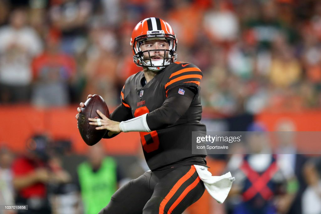 6580fbd1 Cleveland Browns quarterback Baker Mayfield throws a pass during the ...