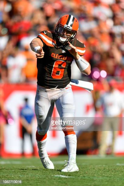 Cleveland Browns quarterback Baker Mayfield throws a pass during the second half of an NFL game between the Cleveland Browns and the Tampa Bay Bucs...