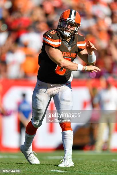 Cleveland Browns quarterback Baker Mayfield throws from the pocket during the second half of an NFL game between the Cleveland Browns and the Tampa...