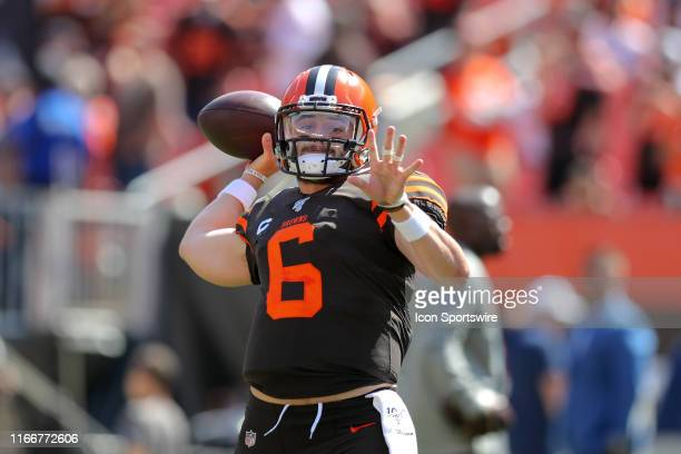 Cleveland Browns quarterback Baker Mayfield warms up prior to the National Football League game between the Tennessee Titans and Cleveland Browns on...