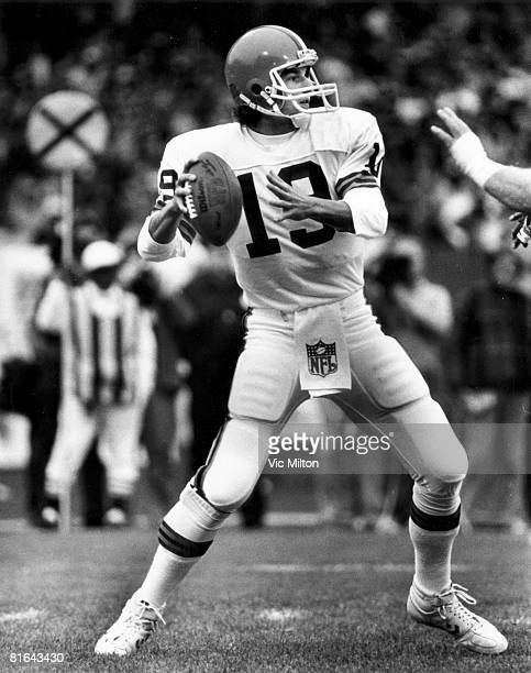 Cleveland Browns quarterback Bernie Kosar looks to pass in a 2120 loss to the Los Angeles Raiders on October 20 1985 at Cleveland Municipal Stadium...