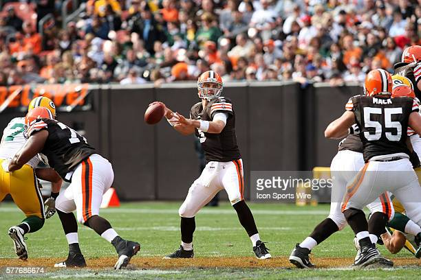 Cleveland Browns quarterback Derek Anderson looks to throw during the first half of the Browns game against the Green Bay Packers in Cleveland Ohio...