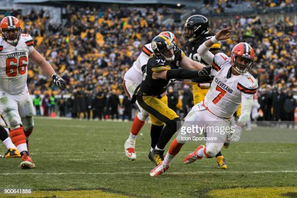 Cleveland Browns Quarterback DeShone Kizer is thrown to the ground by Pittsburgh Steelers TJ Watt during the game between the Cleveland Browns and...