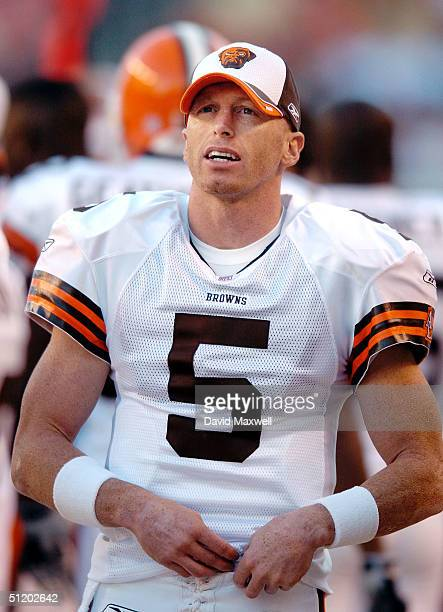 Cleveland Browns quarterback Jeff Garcia stands on the sidelines during their preseason game against the Detroit Lions on August 21 2004 at Cleveland...
