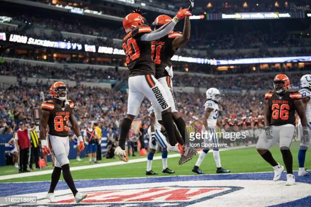 Cleveland Browns running back D'Ernest Johnson and Cleveland Browns wide receiver Rashard Higgins celebrate a touchdown during the week 2 NFL...