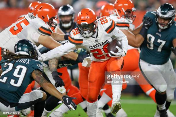 Cleveland Browns running back Duke Johnson carries the football during the second quarter of the National Football League preseason game between the...