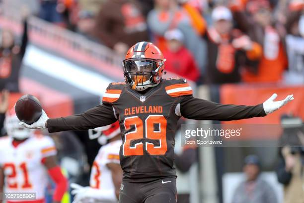 Cleveland Browns running back Duke Johnson celebrates after scoring on a 19yard pass play during the second quarter of the National Football League...
