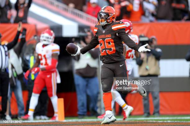 Cleveland Browns running back Duke Johnson celebrates in the end zone after catching a 19yard touchdown pass during the second quarter of the...