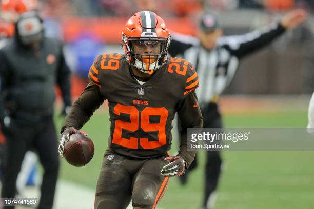 Cleveland Browns running back Duke Johnson goes out of bounds after gaining 17yards during the fourth quarter of the National Football League game...