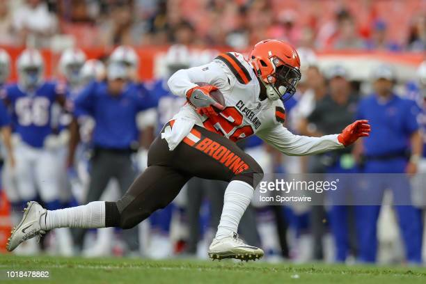 Cleveland Browns running back Duke Johnson Jr carries the football during the first quarter of the National Football League preseason game between...