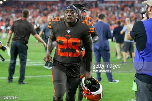 Cleveland Browns running back Duke Johnson Jr leaves the field following the National Football League game between the New York Jets and Cleveland...
