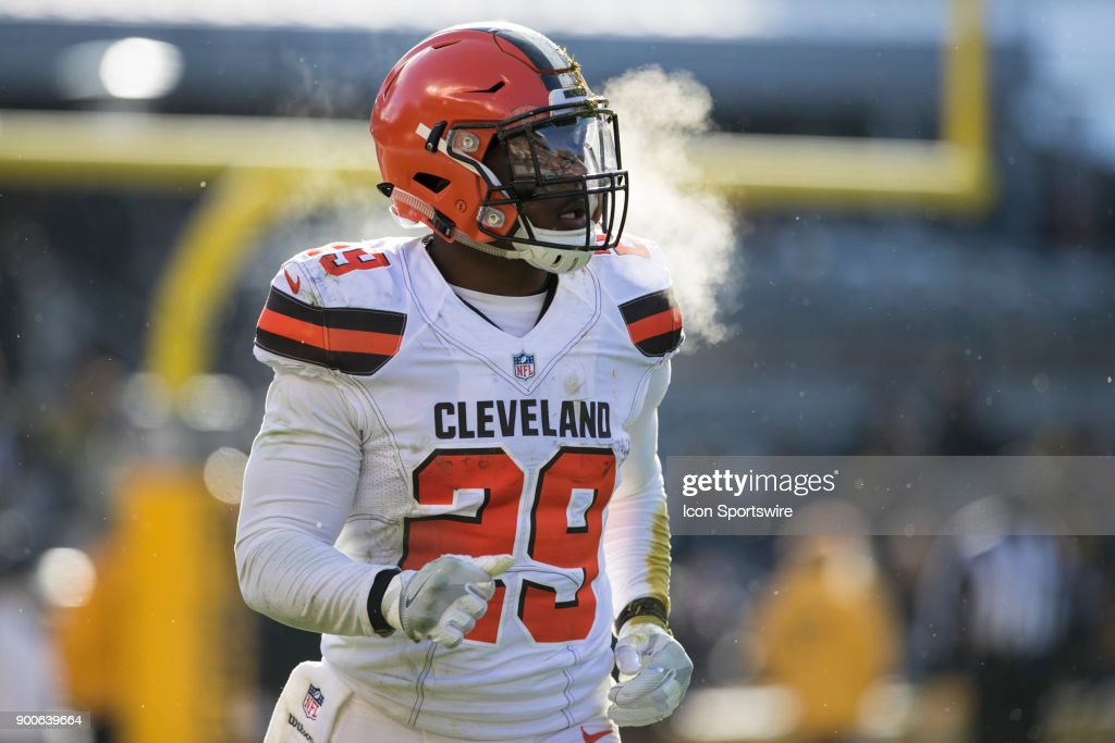 Cleveland Browns Running back Duke Johnson Jr. (29) looks on during the game between the Cleveland Browns and the Pittsburgh Steelers on December 31, 2017 at Heinz Field in Pittsburgh, Pa.