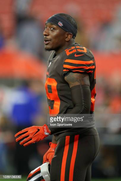 Cleveland Browns running back Duke Johnson Jr on the field prior to the National Football League game between the New York Jets and Cleveland Browns...