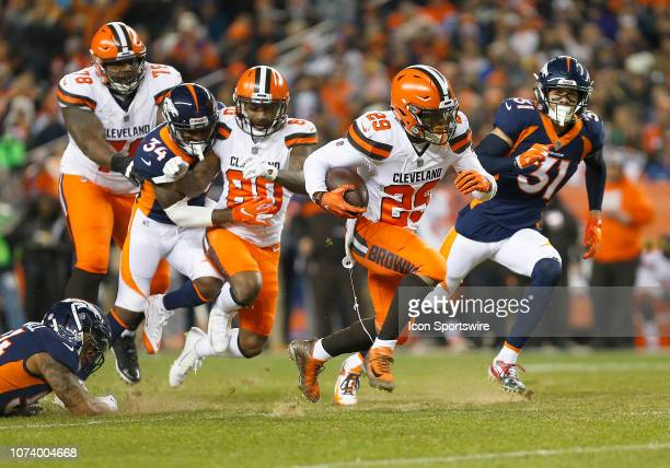 Cleveland Browns running back Duke Johnson Jr runs for a large gain during a game between the Denver Broncos and the visiting Cincinnati Bengals on...