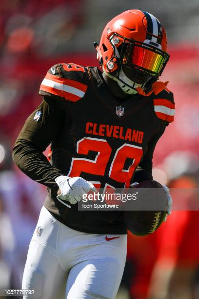 Cleveland Browns running back Duke Johnson Jr warms up prior to an NFL game between the Cleveland Browns and the Tampa Bay Bucs on October 21 at...