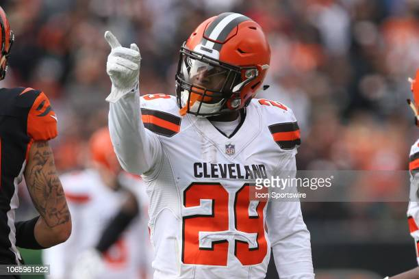 Cleveland Browns running back Duke Johnson reacts after a first down during the game against the Cleveland Browns and the Cincinnati Bengals on...