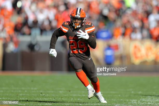 Cleveland Browns running back Duke Johnson runs after making a catch during the second quarter of the National Football League game between the...