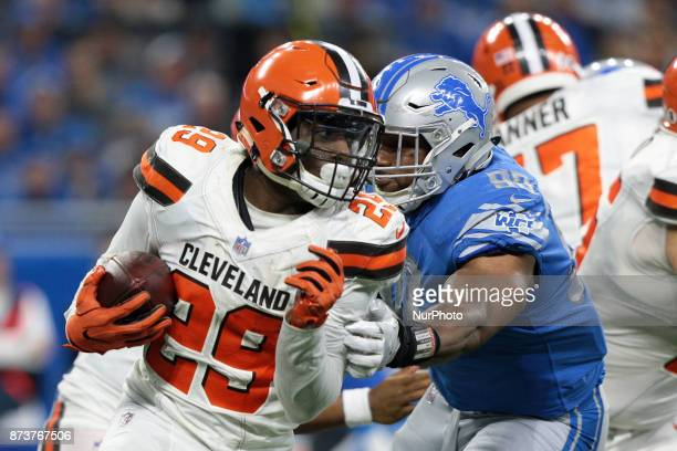 Cleveland Browns running back Duke Johnson runs the ball during the second half of an NFL football game against the Detroit Lions in Detroit Michigan...