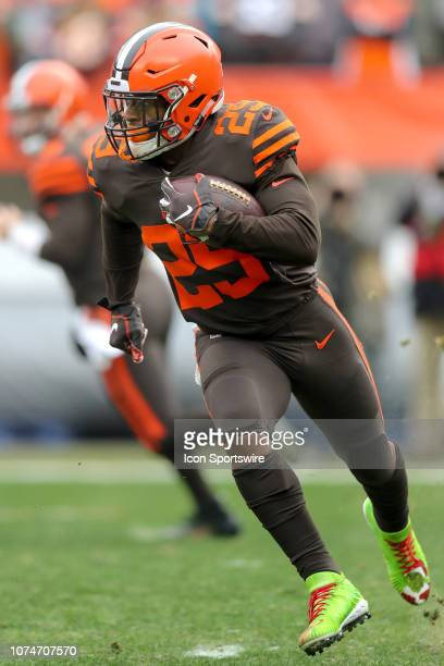 Cleveland Browns running back Duke Johnson runs the football during the first quarter of the National Football League game between the Cincinnati...