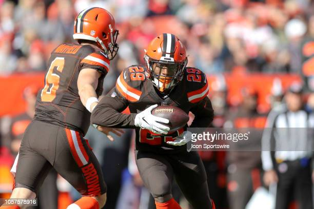 Cleveland Browns running back Duke Johnson with the football during the first quarter of the National Football League game between the Kansas City...