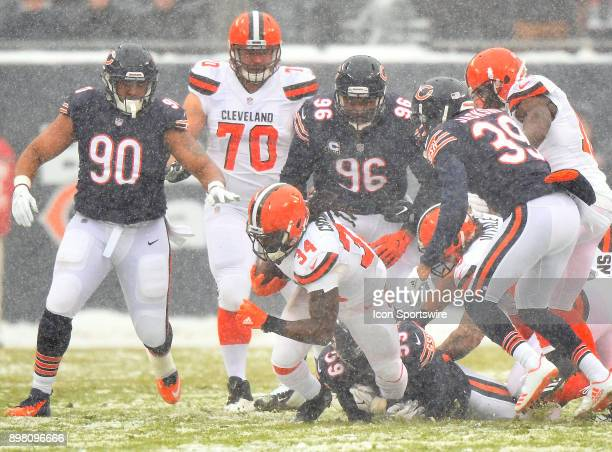 Cleveland Browns running back Isaiah Crowell is tackled by Chicago Bears inside linebacker Danny Trevathan during the game between the Chicago Bears...