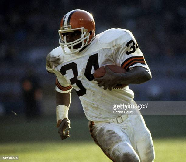 Cleveland Browns running back Kevin Mack carries the football during the Browns 177 victory over the Buffalo Bills on November 17 1985 at Cleveland...