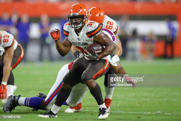 Cleveland Browns running back Nick Chubb carries the football during the third quarter of the National Football League preseason game between the...