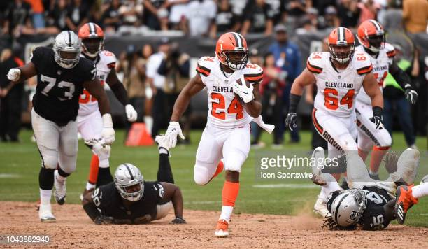 Cleveland Browns Running Back Nick Chubb on his way to scoring a touchdown during the NFL football game between the Cleveland Browns and the Oakland...