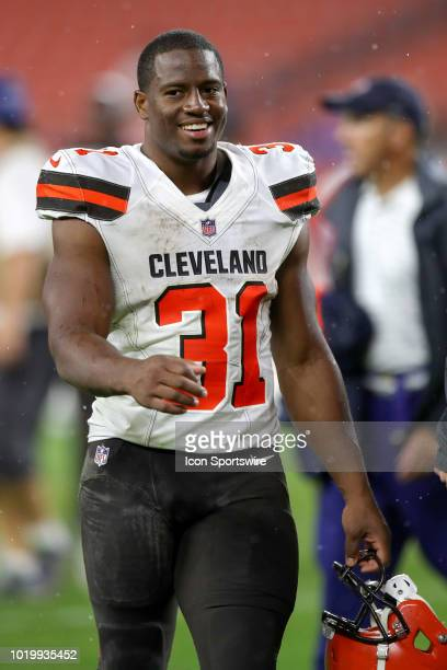 Cleveland Browns running back Nick Chubb on the field following the National Football League preseason game between the Buffalo Bills and Cleveland...
