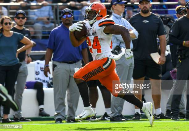Cleveland Browns running back Nick Chubb runs for an 88 yard touchdown in the fourth quarter against the Baltimore Ravens on September 29 at MT Bank...